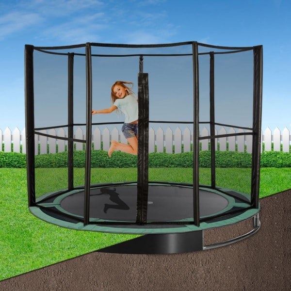 14ft Round Capital Play In-Ground Trampoline Safety Full Enclosure