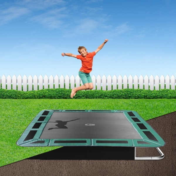 14ft x 10ft Jump Shack Rectangular In-Ground Trampoline Kit - Green