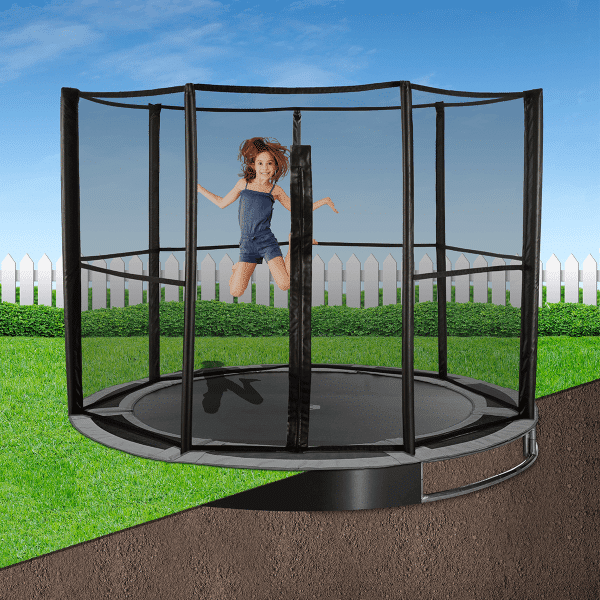 8ft Round In-Ground Trampoline Kit - Gray