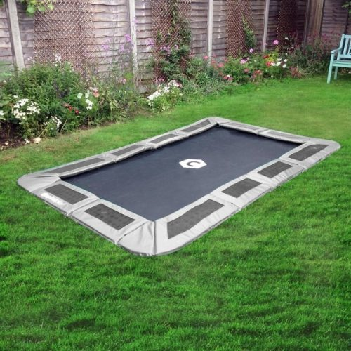 10ft x 6ft Capital Rectangular In Ground Trampoline Kit - Gray
