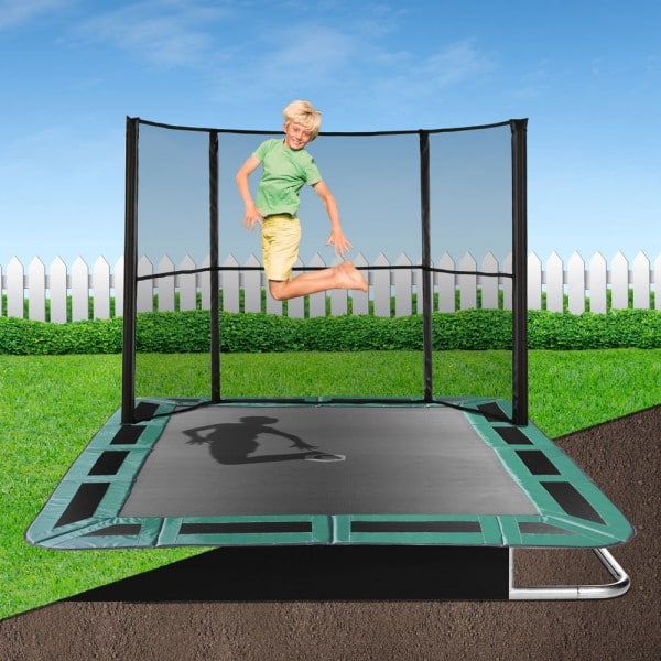 Rectangle Capital In Ground Trampoline Kit - Green