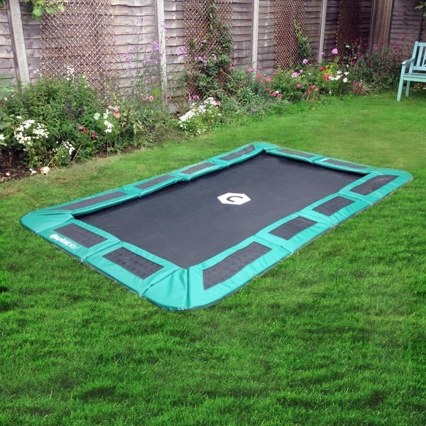 10ft x 6ft Capital Rectangular In Ground Trampoline Kit - Green