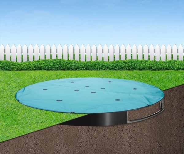 Protect your sunken trampoline from bird muck, leaves and dust. Buy a 14ft Capital In-ground Trampoline Cover from Capital Play, the in-ground trampoline specialists
