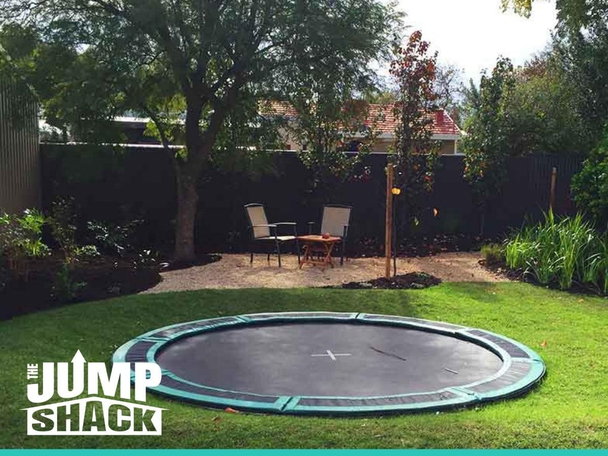 Beautiful In-Ground Trampoline in a garden