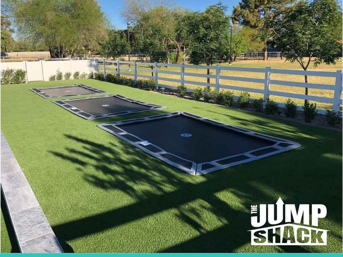 Garden with Triple Floor Trampolines in Arizona