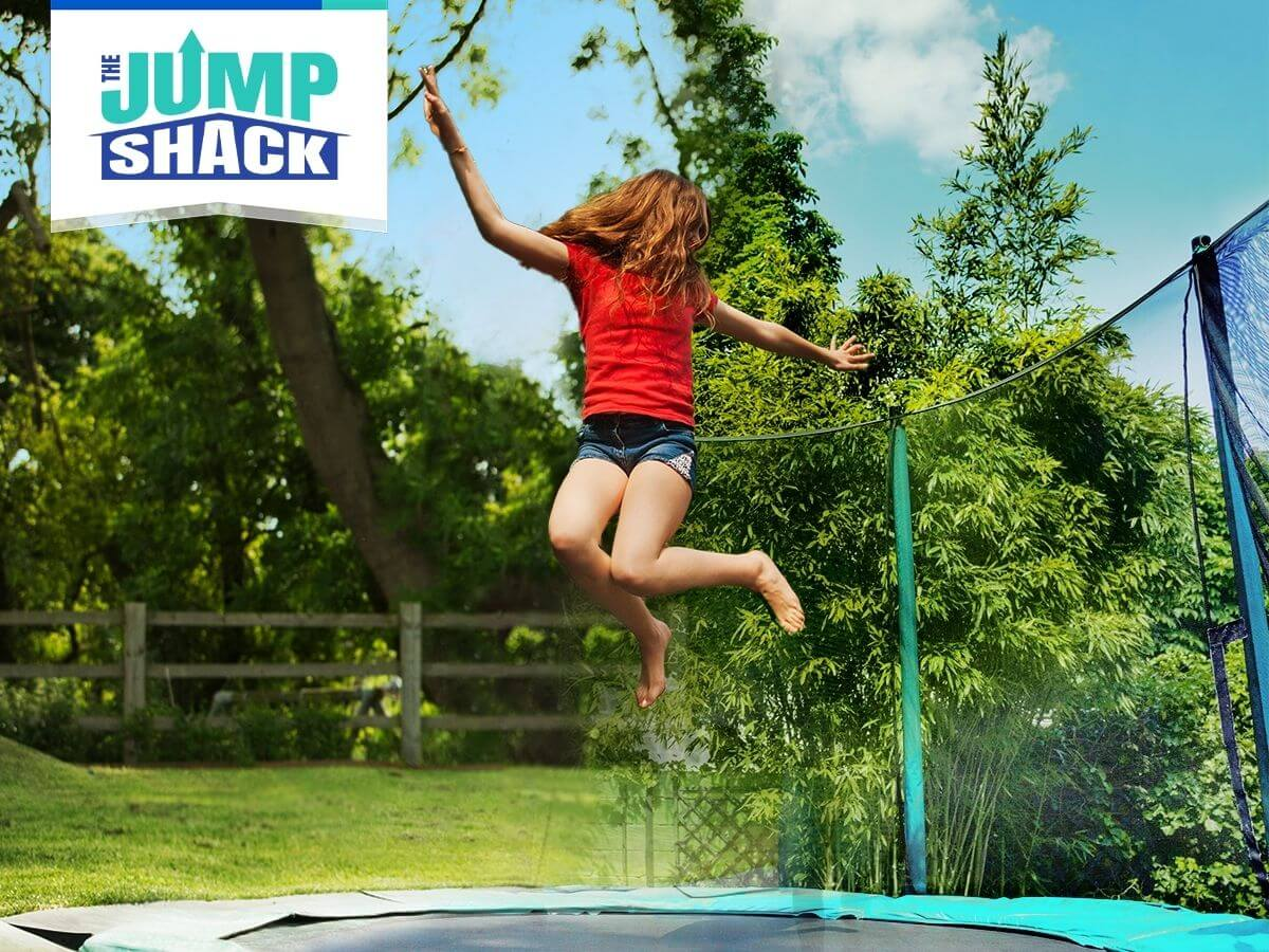 girl jumping on her trampoline made by The Jump Shack
